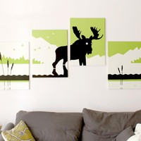 Moose Paintings in Green, White, & Black 18 x 24 (Set of 4)