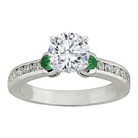 Engagement Ring - Three Stone Round Diamond & Green Emerald Engagement Ring 0.5 tcw. In 14K White Gold - ES361G