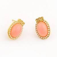 gold ribbon pink acrylic stone stud earrings at online cheap gold fashion jewelry store fashionjewelrytv.com
