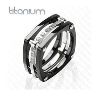 Amazon.com: New Solid Titanium Black IP Wedding Cz Band Mens Ring: Jewelry