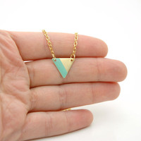 Minimalist Geometric Small Triangle Lined Necklace - Mint Green Hand Painted Modern Raw Brass Jewelry  - Gold Plated Chain