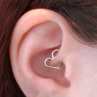 18 Gauge Heart Ear Cartilage Earring, Sterling Silver OR Gold Filled