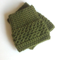 Crochet Boot cuffs /  Boot socks /  Short Leg warmers / Boot tops - OLIVE GREEN - (more colors available)