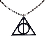 Deathly Hallows Necklace, Harry Potter Pendant, Black Laser Cut