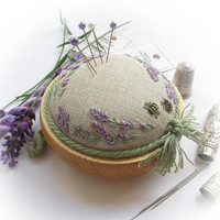 Lavender & Bees on Linen Pincushion Kit