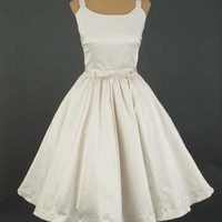 Informal Wedding Dresses-Trashy Diva Antique White 50s Style Informal Short Wedding Dress