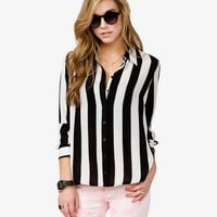 Striped Chiffon Shirt | FOREVER 21 - 2024802364