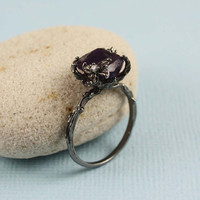 Black Rough Amethyst Ring gemstone ring raw stone by tooriginal