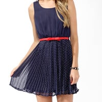 Pleated Polka Dot Dress w/ Belt
