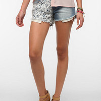 Urban Outfitters - Reverse Crochet Panel Denim Short