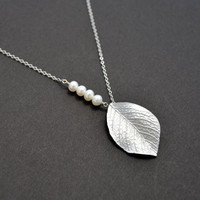 white gold plated leaf and pearl necklace by LilliDolli on Etsy