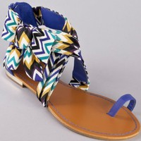 Amazon.com: Bamboo Bloom-64 Bow Flat Printed Sandal: Shoes