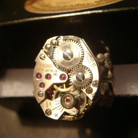 Steampunk  Watch Movement Ring with Exposed Gears (937)