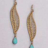 Leaf Drop Earrings in Accessories at Frock Candy
