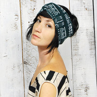 Giza Turban - Peacock - Earwarmer Turban Headband Scarf - Modern Tribal Native Hand Printed Jersey by Bark Decor