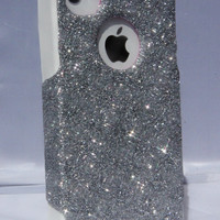 Custom Glitter Case Otterbox for iPhone 4/4S Silver/White