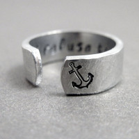 Hammered Secret Message Anchor Ring - I REFUSE TO SINK - Hand Stamped Aluminum Ring - Customizable