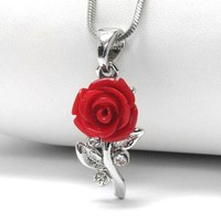 A Rose Without Thorns - Blooming Red Rose 17&quot; Pendant Necklace
