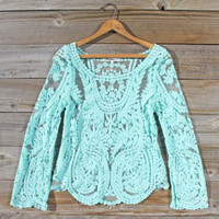 Laced in Snow Blouse in Mint, Sweet Bohemian tops