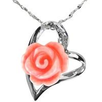 "Red Coral Rose Heart Shaped Platinum Overlay CAREFREE Sterling Silver Pendant Necklace (16"")"