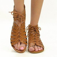 Gladiator Sandals Fashion Summer Ankle Bootie Lace Up Strappy Shoes Brown