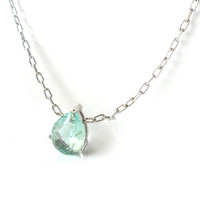 Something Blue Delicate Necklace Silver Framed Erinite Teardrop Glass Stone platinum plated chain Bridal  simple jewelry Solitare