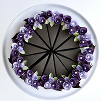 PAPER Chocolate Cake Slice Favor Box With Purple Flowers. Wedding Favor, Party Favor | Luulla