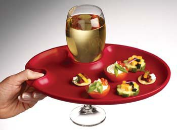Prodyne Wine 'n Dine Party Plate, COLOR: Red
