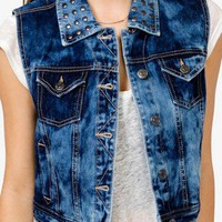 Acid Wash Studded Vest | FOREVER 21 - 2028429860
