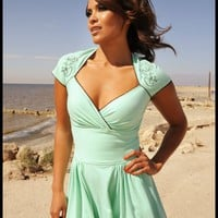 Pinup Couture Luscious Dress in Mint with Mira the Mermaid | Pinup Girl Clothing