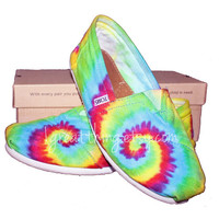 TOMS Tie Dye Shoes - hand dyed and custom made-  by One Great Thing-