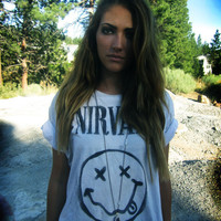 Nirvana stencil band tee by yourafever on Etsy
