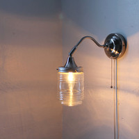 City Lights -Industrial Stainless Steel Gooseneck Wall Sconce - Clear Glass Lamp Shade - UpCycled BootsNGus Lighting Fixture