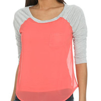 Chiffon Blocked Raglan Tee | Shop Junior Clothing at Wet Seal