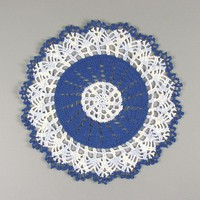 "Lovely Crocheted Royal Blue Variegated ""Gift"" Doily - 10"" 