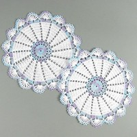 Set Of 2 - Delicate Crocheted White &amp; Variegated Lavender Blue Doilies | Luulla