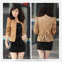 IN-OZ Womens Double-breasted Collarless Puff Sleeve Suit Jacket Short Coat Z4017