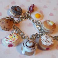 breakfast theme polymer clay charm bracelet