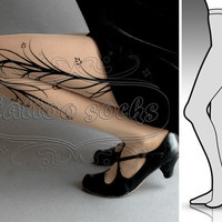 new: Large/Extra Large sexy Long Branches tattoo tights / stockings full length pantyhose LIGHT MOCHA