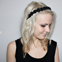 1920s black roses black rose headband