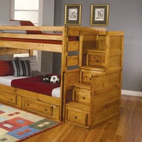 Wrangle Hill Bunk Bed Stairway Chest of Drawers from Brookstone