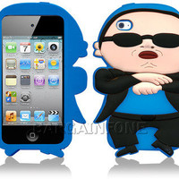 FOR iPOD TOUCH 4TH GEN 3D PSY GANGNAM STYLE BLUE RUBBER SKIN CASE