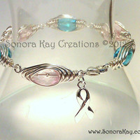 Pink and Blue Wire Wrapped Awareness Bracelet