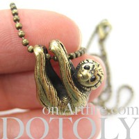 Baby Sloth Realistic Animal Charm Necklace in Bronze
