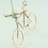 Lovely Bike Necklace Mixed Metal Bronze Sterling by ExCognito
