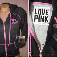 Victoria&#x27;s Secret LOVE PINK Limited Edition HOODIE Dog Logo Sweatshirt NWT XS