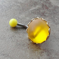 Glowing Neon Yellow Belly Button Ring Jewelry