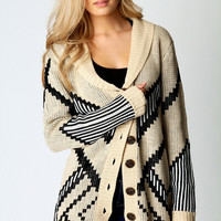 Sarah Intarsia Zig Zag Button Cardigan