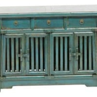 One Kings Lane - Eastern Influence - Gregory 4-Door Sideboard, Teal