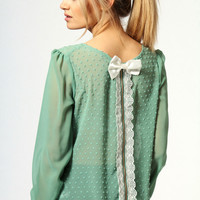 Iris Chiffon Spot Blouse With Lace And Bow Back